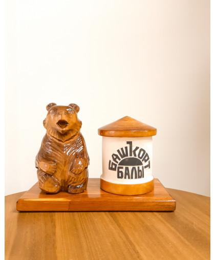 "Сувенирный медведь ""Мишка на пасеке"" 0,15 кг Улей Башкорт балы"